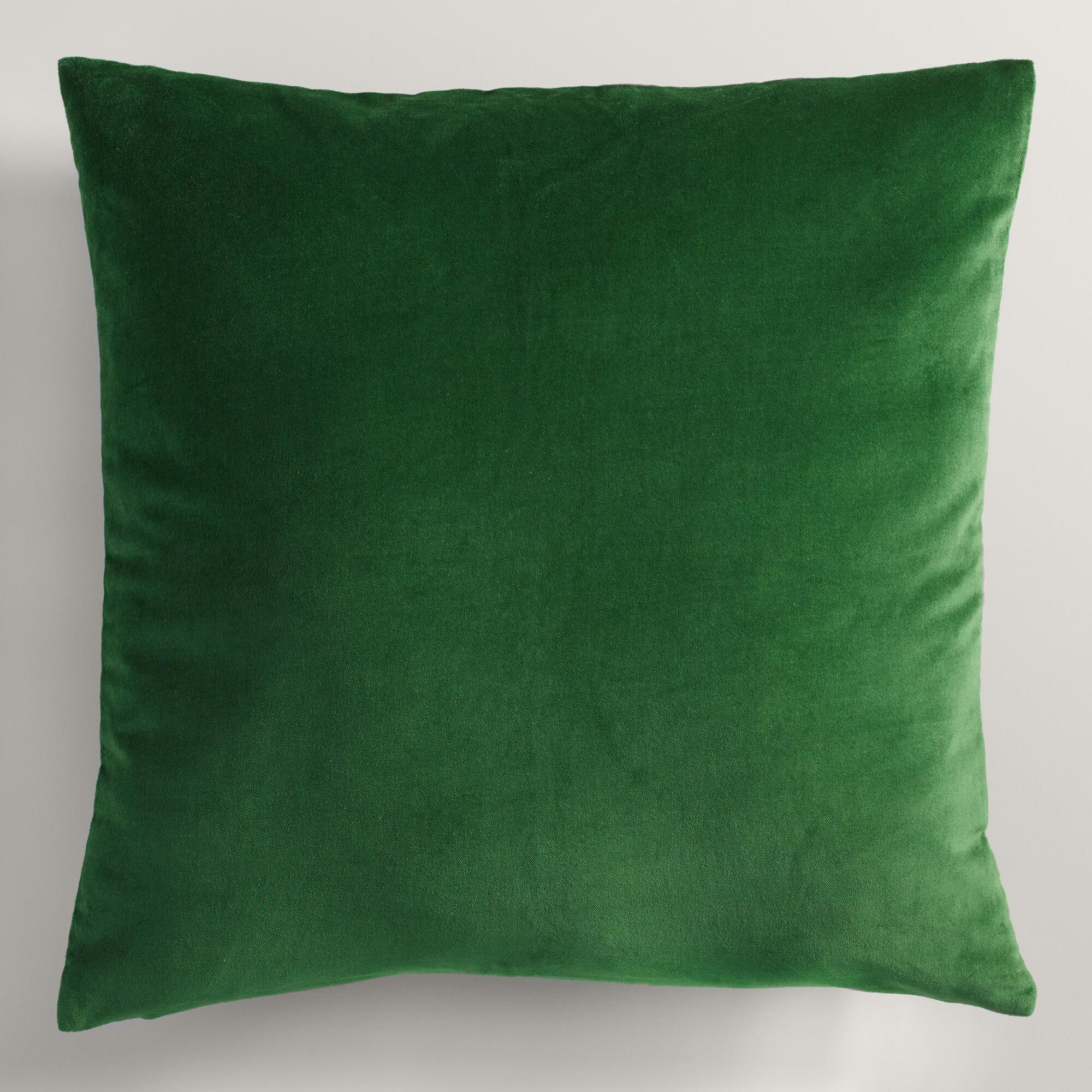 Decorative Pillows For Bed Green : Green Velvet Throw Pillow World Market