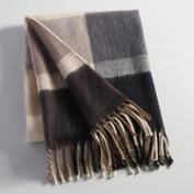Black and Gray Plaid Throw