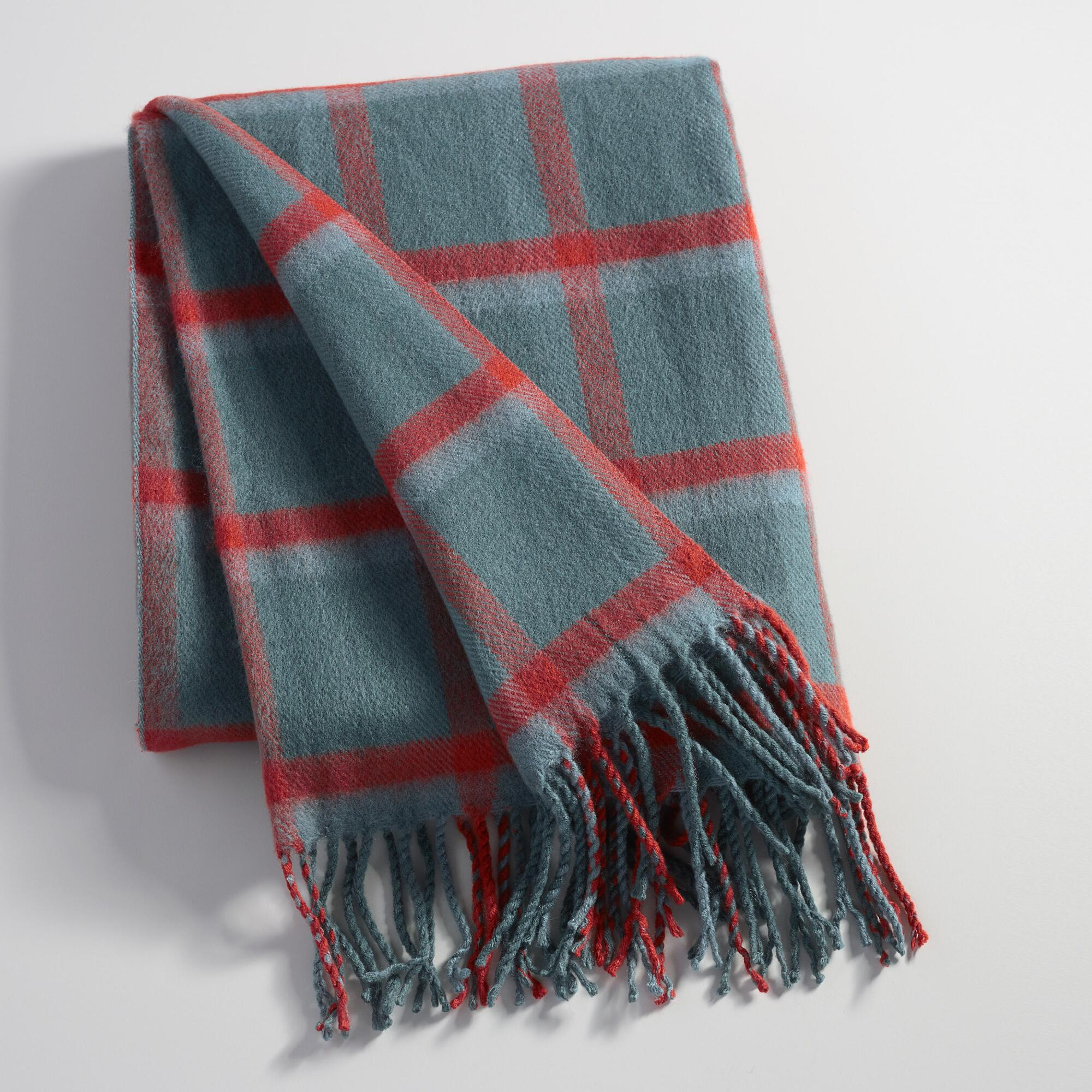 Blue And Rust Plaid Throw World Market