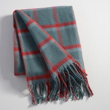 Blue and Rust Plaid Throw