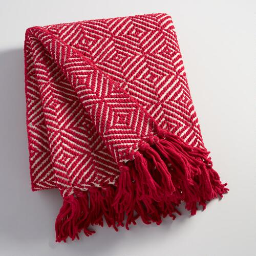 Red Geo Chenille Throw