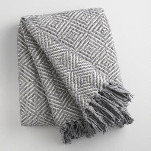 Gray Geo Chenille Throw