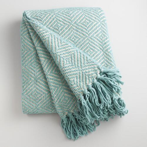 Arctic Blue Geo Chenille Throw World Market