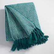 Teal Geo Chenille Throw
