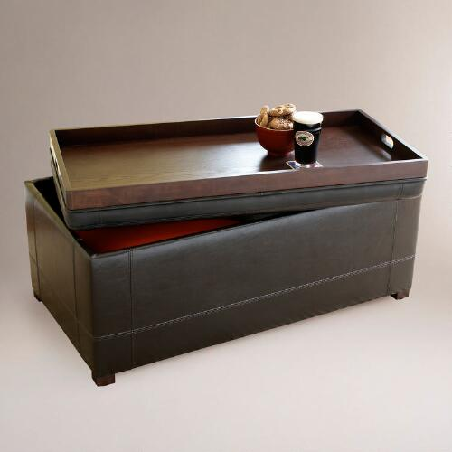 Brown Owen Bi-Cast Leather Ottoman