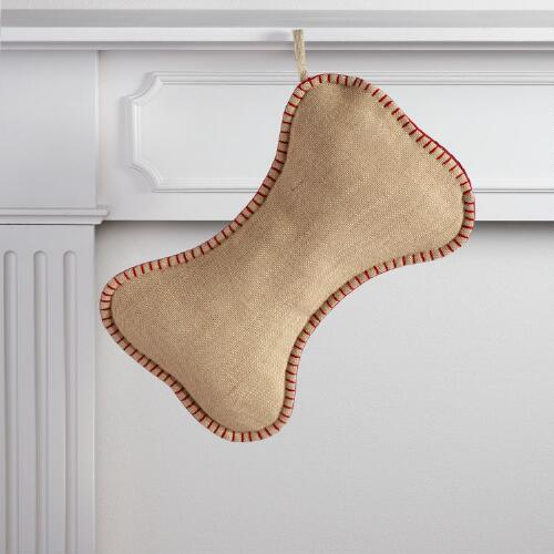 Jute Dog Bone Pet Stocking