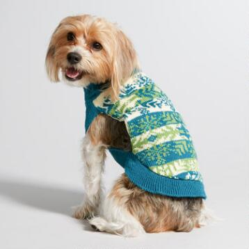 Blue and Green Fair Isle Knit Dog Sweater