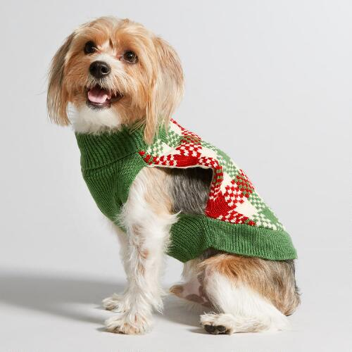 Red and Green Check Knit Dog Sweater