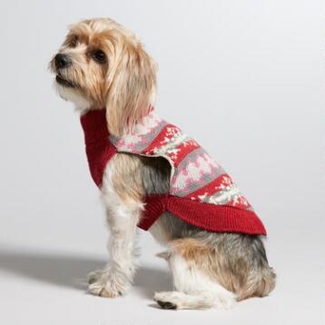 Red Fair Isle Knit Dog Sweater