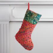 Red and Green Sari Loop Stocking