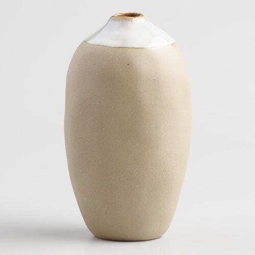 Tall Reactive Glaze Stone Dipped Vase Set of 2