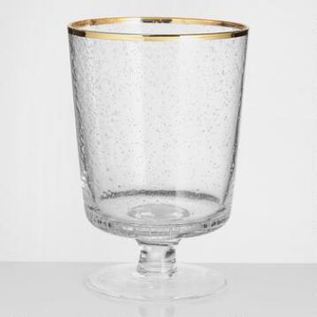 Gold Rimmed Bubble Glass Wine Glass Set of 4