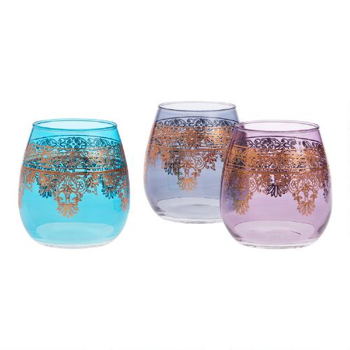 Moroccan Stemless Wine Glasses Set of 3