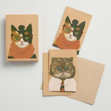 Hipster Cats and Dogs Notecards 12-Pack