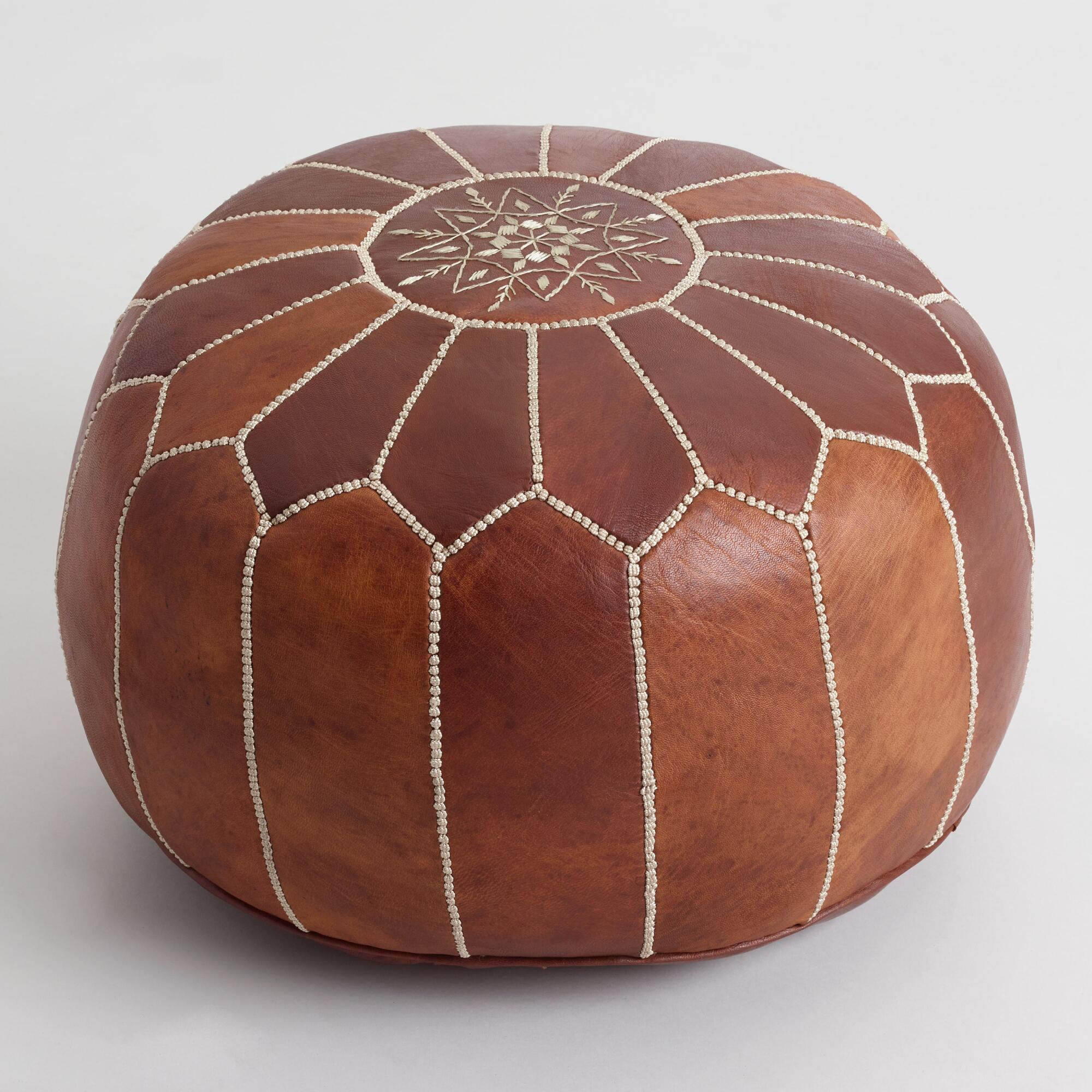caramel leather moroccan pouf world market. Black Bedroom Furniture Sets. Home Design Ideas