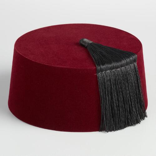Red Wool Fez Hat