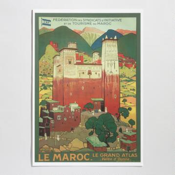 Atlas Mountains Vintage Moroccan Travel Poster