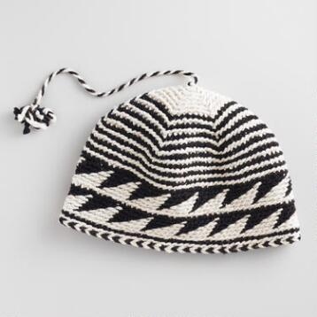 Black and White Handwoven Berber Hat