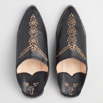 Black Leather Babouche Shoes