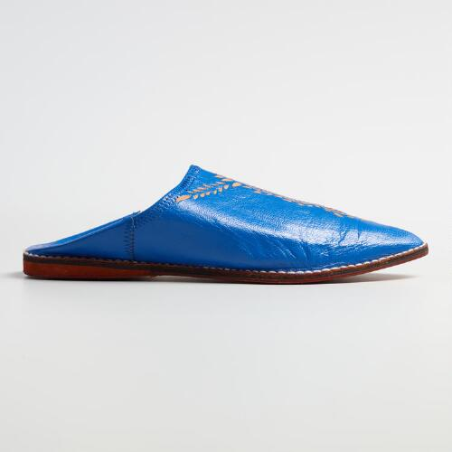 Blue Leather Babouche Shoes