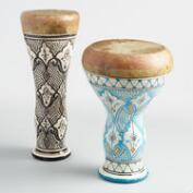 Ceramic and Leather Moroccan Drum Collection