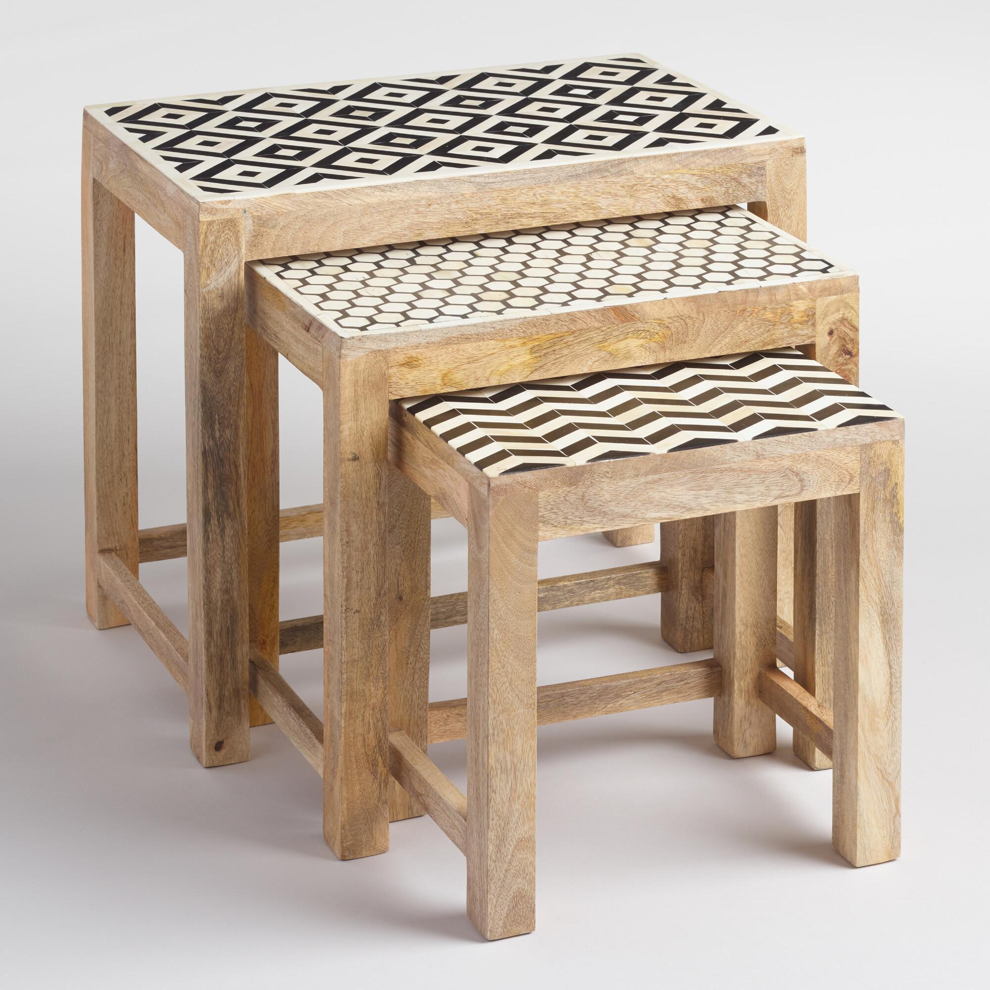 Outdoor Nesting Tables ~ Nesting tables with bone inlay set of world market