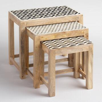 Nesting Tables with Bone Inlay Set of 3