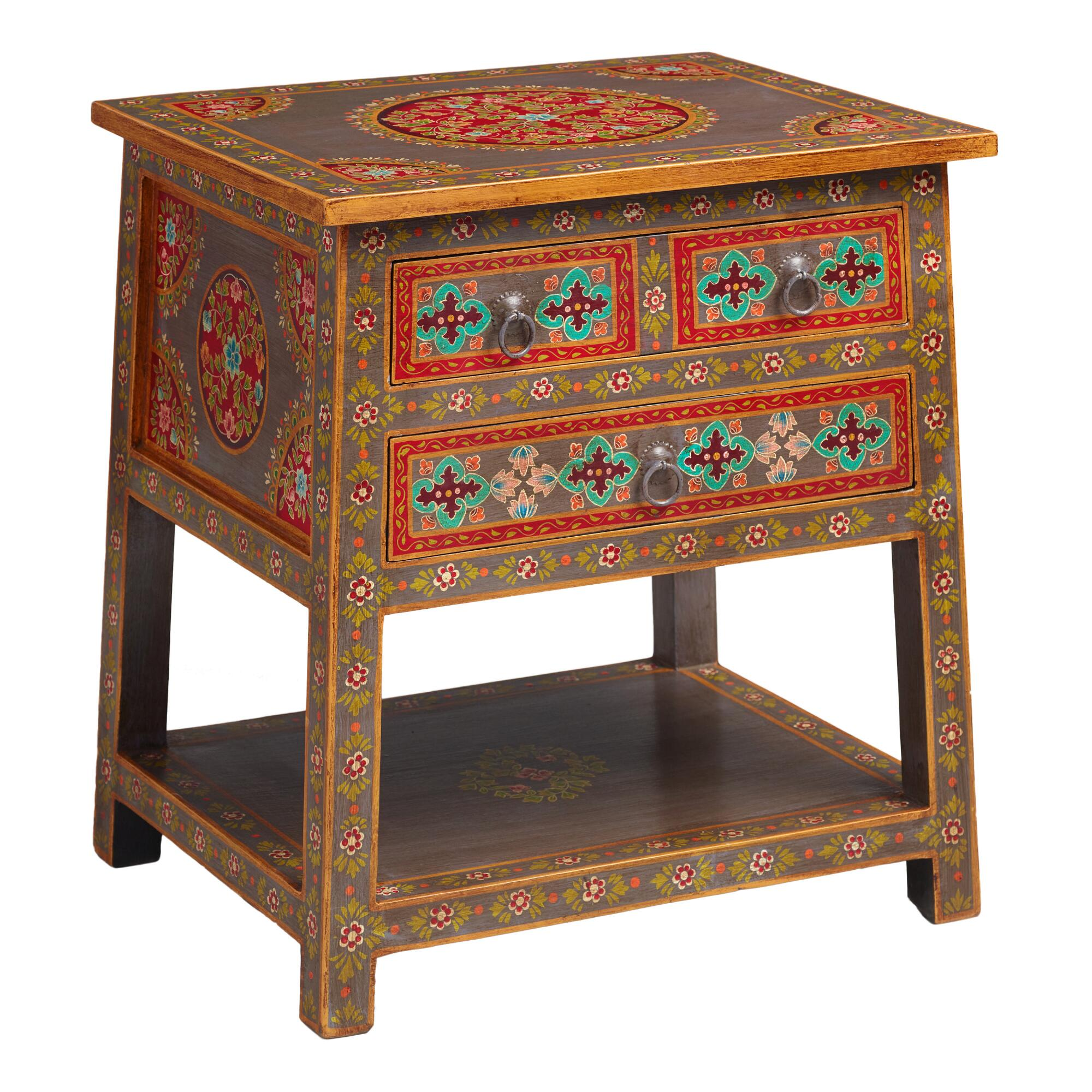 Floral Painted Wood 2 Drawer Accent Table World Market. Full resolution‎  picture, nominally Width 2000 Height 2000 pixels, picture with #A53026.
