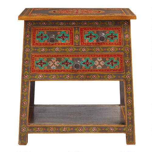 floral painted wood 2 drawer accent table world market