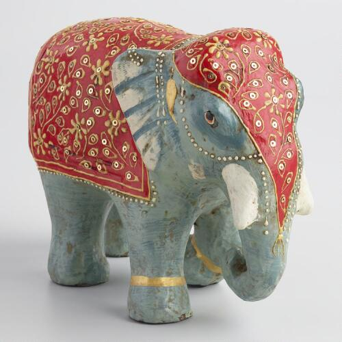 Painted Paper Mache Elephant with Red Blanket