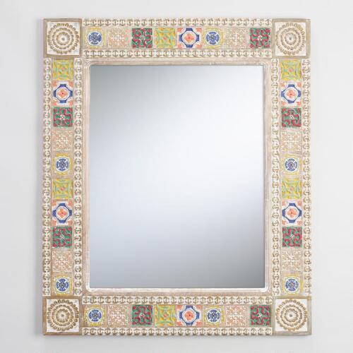 Whitewashed Painted Mirror