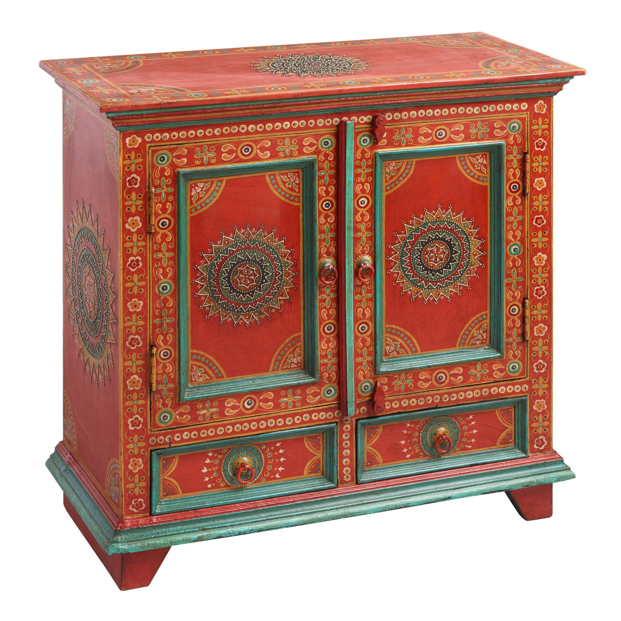 Red Floral Painted Wood Cabinet World Market