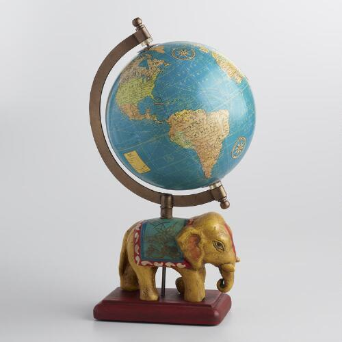 Painted Globe on Elephant Stand