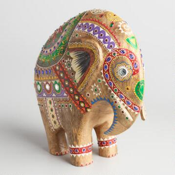 Large Painted Wood Elephant