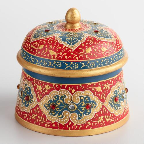 Round Painted Wood Box with Lid