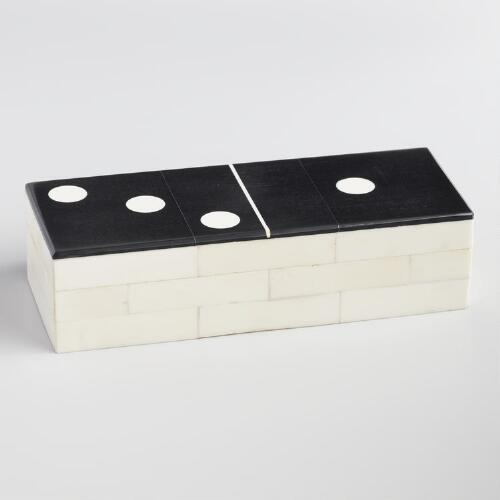 Black and White Bone and Resin Domino Set