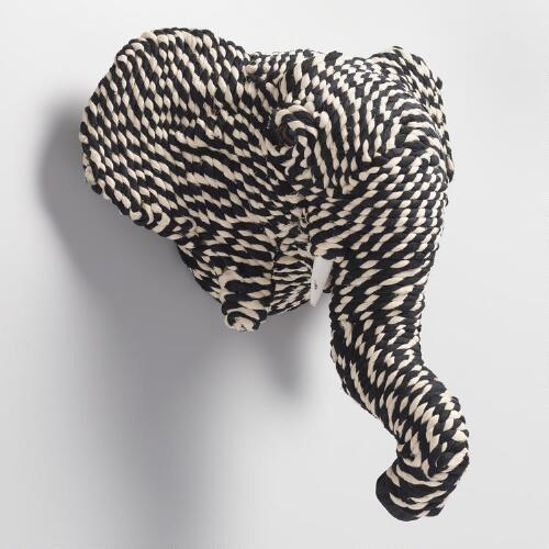 Black and White Elephant Head Wall Hanging