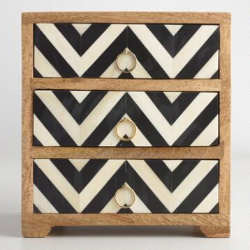 Chevron Wood and Bone 3 Drawer Chest