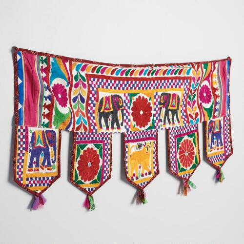 Red Embroidered Toran Wall Decor with Five Flags