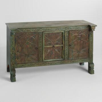Gray Hand-carved Antique Wood Cabinet