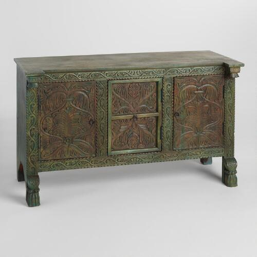Hand-carved Antique Wood Cabinet