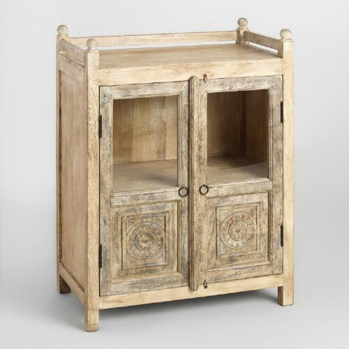 Distressed Antique Cabinet with Glass Doors