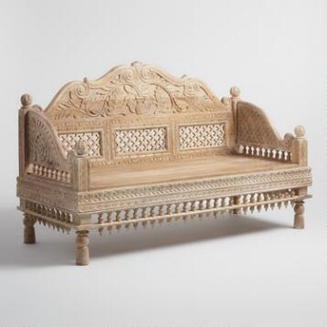 White Antique Carved Wood Bench