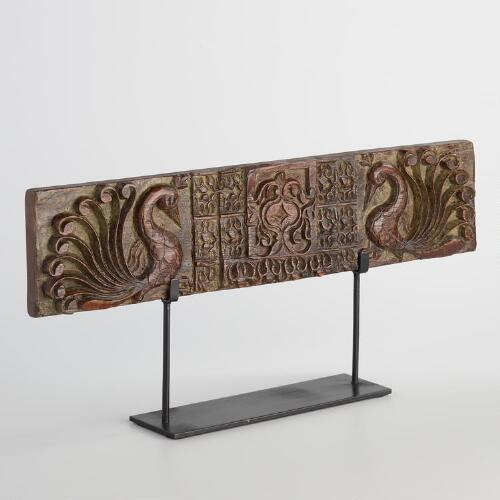 Hand-Carved Wood Peacock Panel on Stand