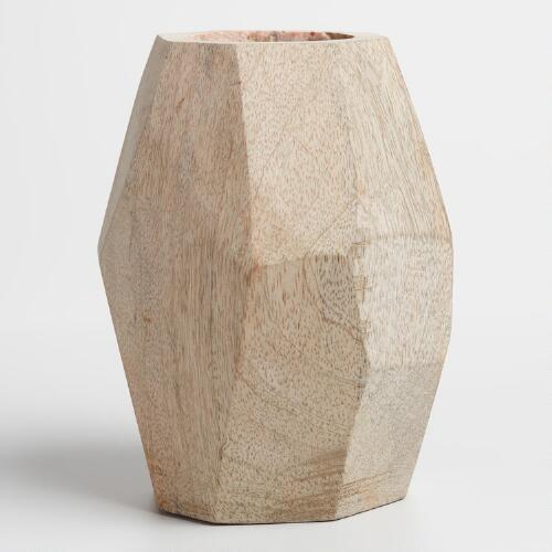 Natural Wood Faceted Dene Vase