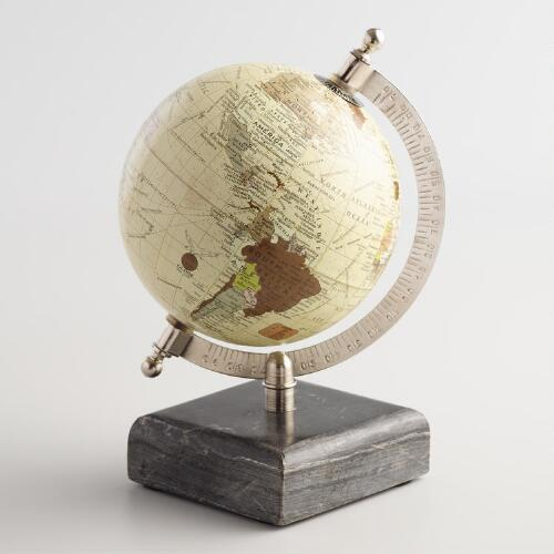 Paper Mache Globe on Marble Stand