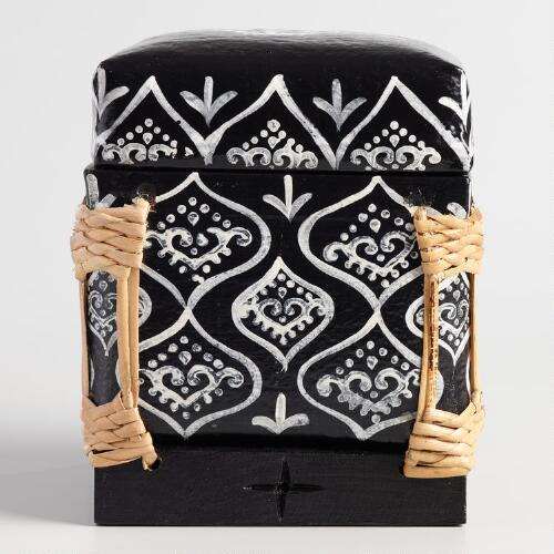 Black and White Bamboo Rice Basket with Lid