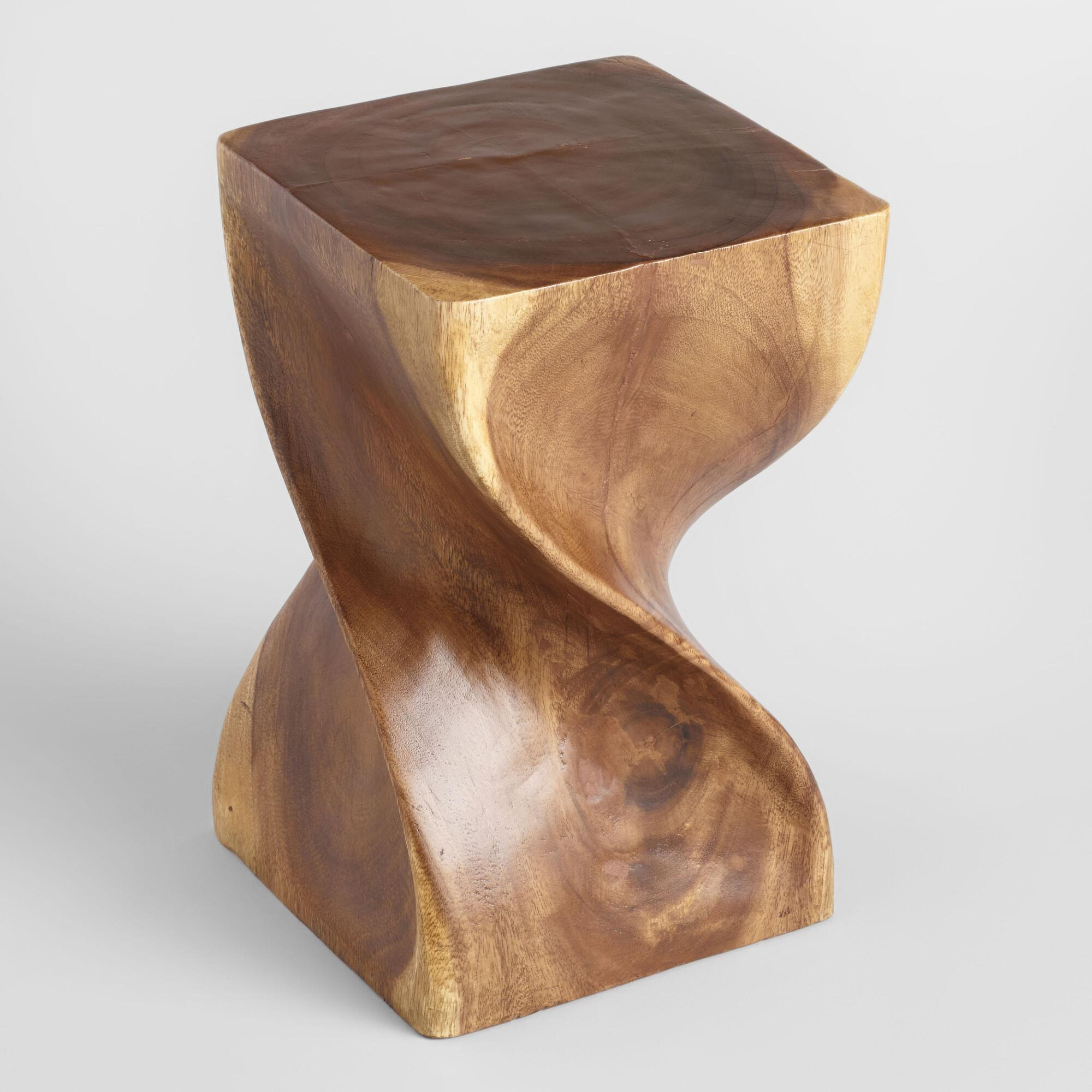 Thai Twisted Acacia Wood Stool World Market