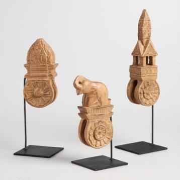 Thai Wood Carving Sculpture on Stand Set of 3