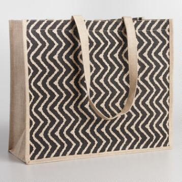 Black Chevron Jute Tote Bag
